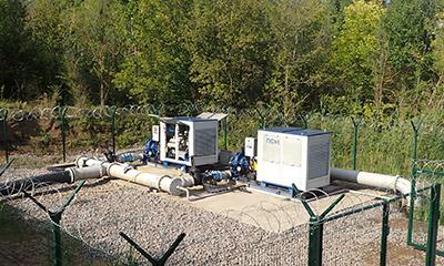 2 насосные установки ПСМ подают воду в систему орошения