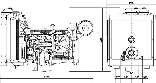 Габаритный чертеж Volvo Penta TAD941GE