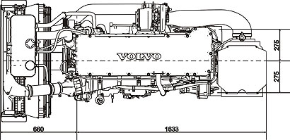 Габаритный чертеж Volvo Penta TAD1342VE