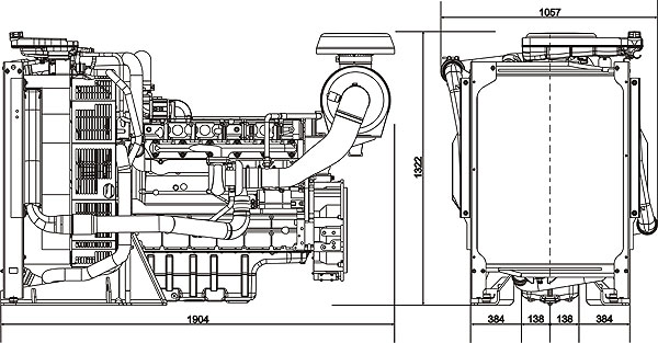 Габаритный размер Volvo Penta TAD732GE