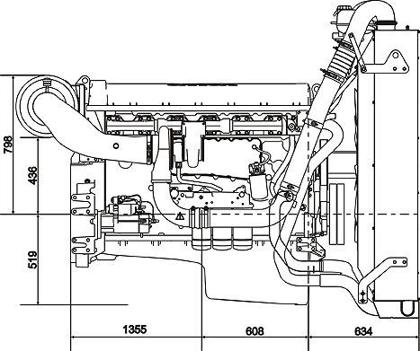 Габаритный чертеж дизельного двигателя Volvo Penta TAD1641GE