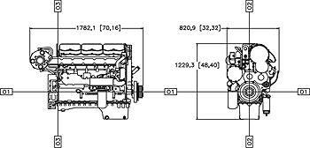 Габаритный чертеж двигателя Caterpillar C15 ACERT
