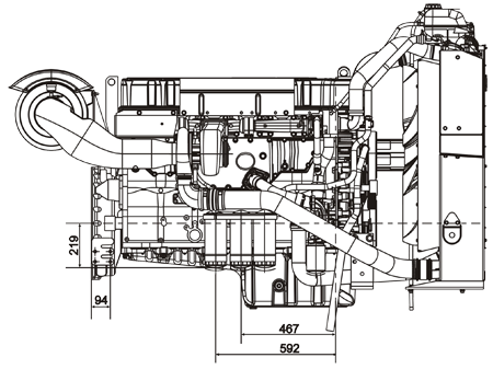 Габаритный чертеж Volvo Penta TAD1242VE