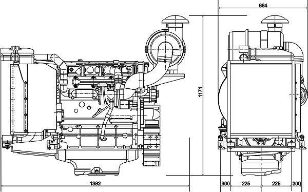 Габаритный чертеж Volvo Penta TD520GE
