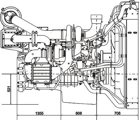 Габаритный чертеж Volvo Penta TWD1643GE