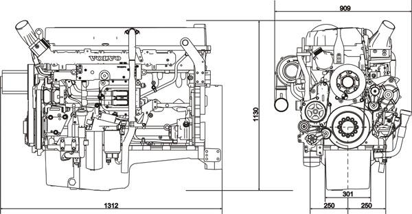 Габаритный чертеж Volvo Penta TAD943VE