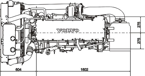 Габаритный чертеж Volvo Penta TAD1341GE