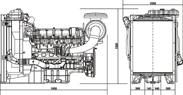 Габаритный чертеж Volvo Penta TAD734GE