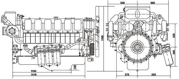 Габаритный чертеж ЯМЗ-Э850.10
