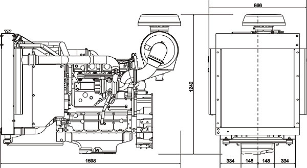 Габаритный чертеж Volvo Penta TAD532GE