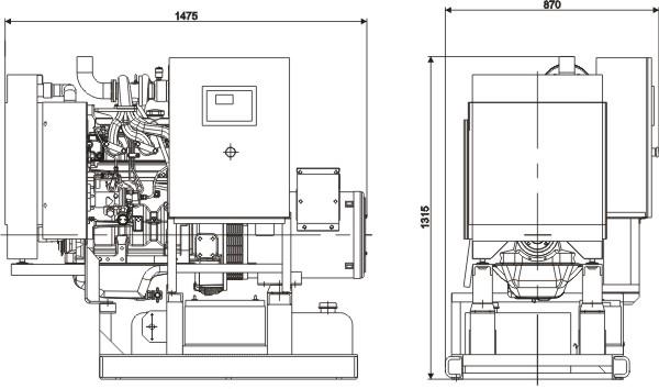 Габаритный чертеж дизельной электростанции ADJ-30