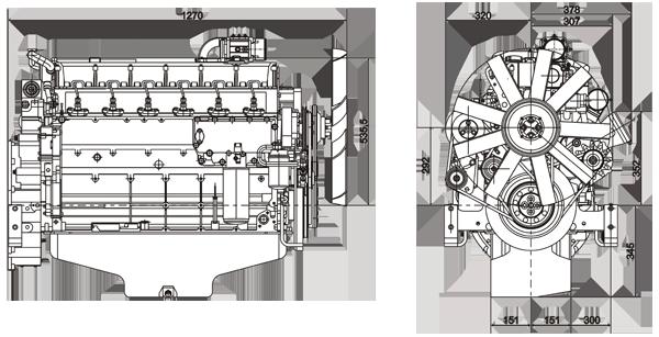 Габаритный чертеж Volvo Penta TAD722VE
