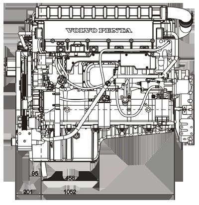Габаритный чертеж Volvo Penta TWD1240VE