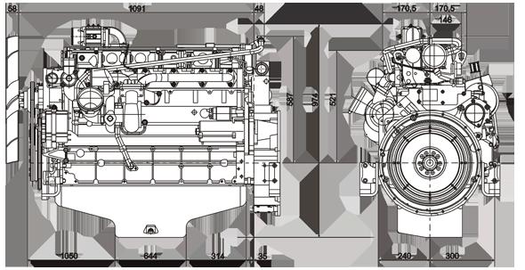 Габаритный чертеж Volvo Penta TAD721VE