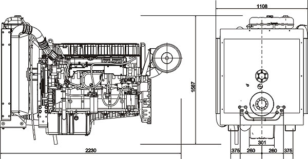 Габаритный чертеж Volvo Penta TAD1241GE