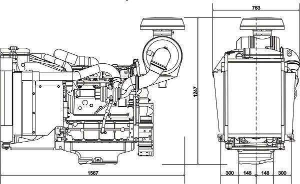 Габаритный чертеж Volvo Penta TAD531GE