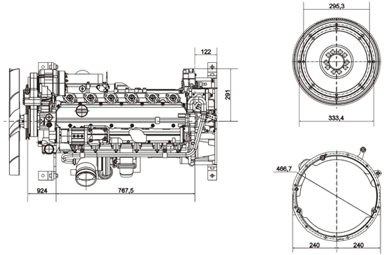 Габаритный чертеж Volvo Penta TAD620VE