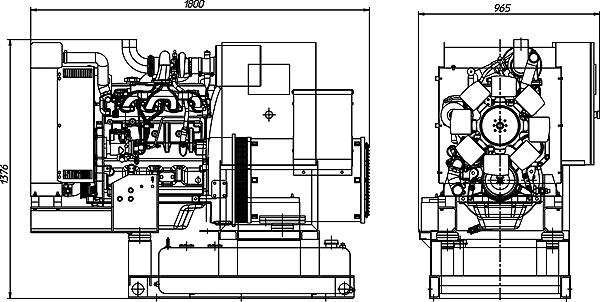 Габаритный чертеж дизельной электростанции ADJ-60