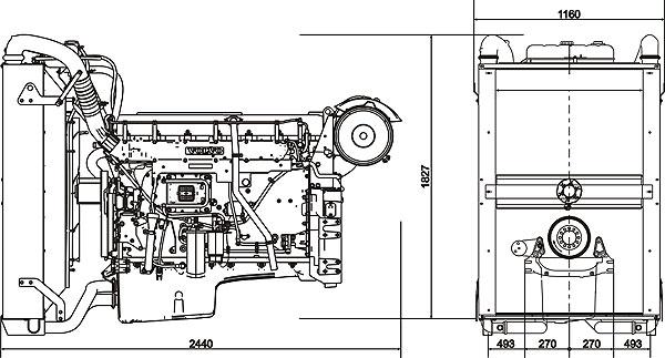 Габаритный чертеж Volvo Penta TAD1642VE