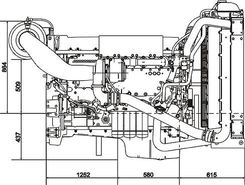 Габаритный чертеж Volvo Penta TAD1344GE
